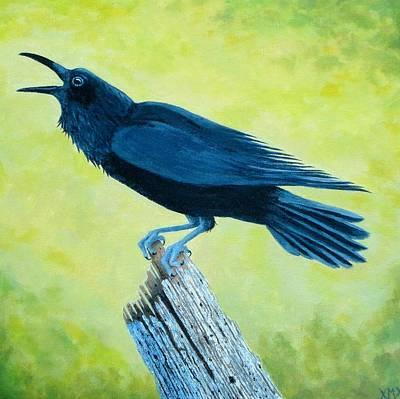 Wa Painting - Crow Talk by Xochi Hughes Madera