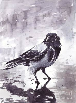 Crow Watercolor Original