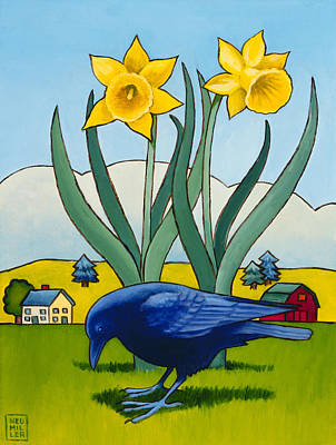 Daffodils Painting - Crow With Daffodils by Stacey Neumiller