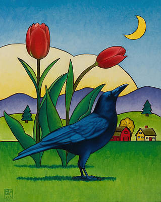 Crows Painting - Crow With Red Tulips by Stacey Neumiller