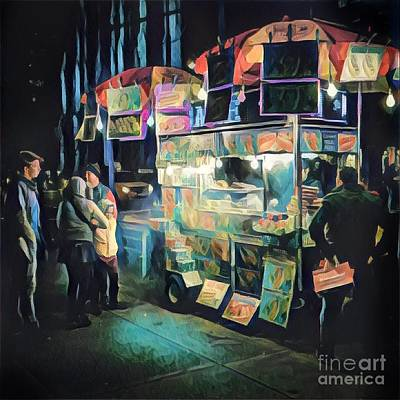 Times Square Digital Art - Crowd Around Food Cart At Night by Amy Cicconi