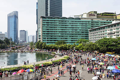Photograph - Crowd For The Car Free Day In Jakarta, Indonesia Capital City.  by Didier Marti