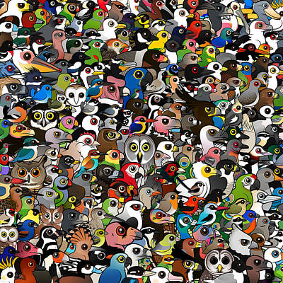 Parakeet Digital Art - Crowd Of Cute Cartoon Birds By Birdorable by Arthur De Wolf