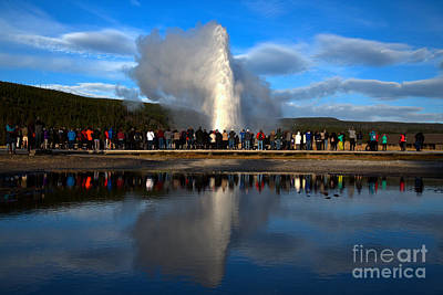 Photograph - Crowd Reflections At Old Faithful Landscape by Adam Jewell