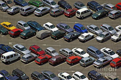Crowded Carpark Full Of Cars Art Print by Sami Sarkis