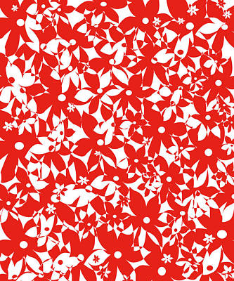 Digital Art - Crowded Flowers - Red by Shawna Rowe