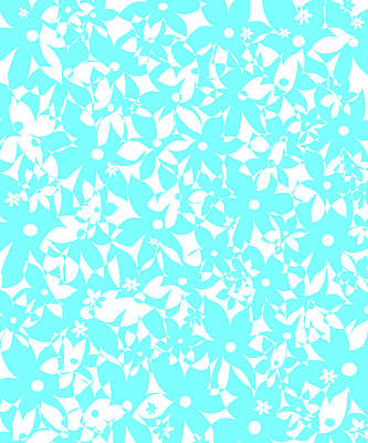 Digital Art - Crowded Flowers - Turquoise by Shawna Rowe