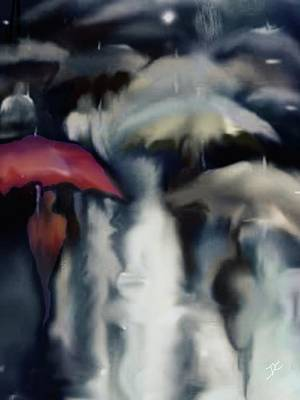 Digital Art - Crowded Rain by Darren Cannell