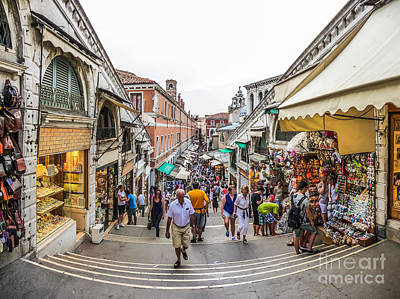 Photograph - Crowded Streets Of Venice From Famous Rialto Bridge, Italy by JR Photography