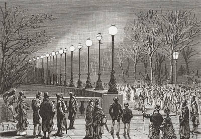 Electricity Drawing - Crowds Admiring The Electric Lights by Vintage Design Pics