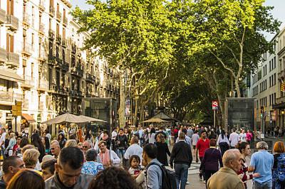 Crowds Along La Rambla - Barcelona Spain Art Print by Jon Berghoff