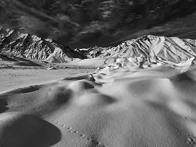 Crowley Lake Photograph - Crowley Lake Snow Fields by Chris Morrison