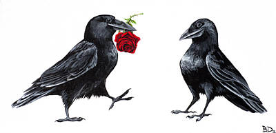 Corvid Painting - Crowmance by Beth Davies