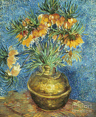 Copper Painting - Crown Imperial Fritillaries In A Copper Vase by Vincent Van Gogh
