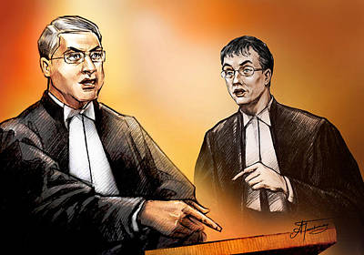 Dirk Drawing - Crown Michael Carnegie Versus Defence Lawyer Dirk Derstine At The Rafferty Trial by Alex Tavshunsky