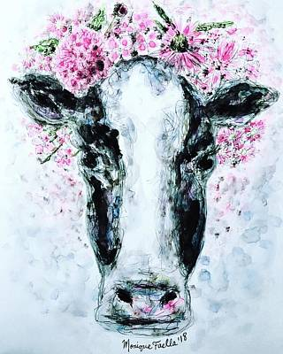 Painting - Crown Of Flowers Cow by Monique Faella