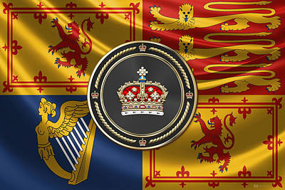 Digital Art - Crown Of Scotland Over Royal Standard  by Serge Averbukh