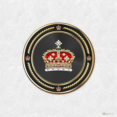 Digital Art - Crown Of Scotland Over White Leather  by Serge Averbukh