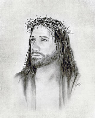 Jesus Drawing - Crown Of Thorns by Brent Borup
