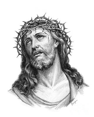 Pencil Drawing Of Jesus Painting - Crown Of Thorns by Christopher Panza
