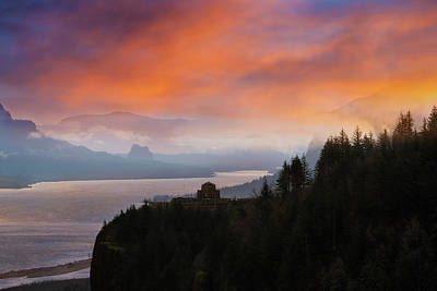 Photograph - Crown Point At Columbia River Gorge During Sunrise by David Gn