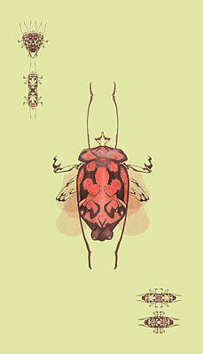 Digital Art - Crowned Horn Bug Specimen by Kristin Doner