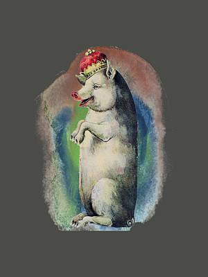 Digital Art - Crowned Pig T Shirt Design by Bellesouth Studio