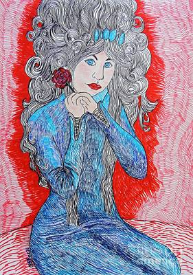 Red Gown Drawing - Crowning Glory by Caroline Street