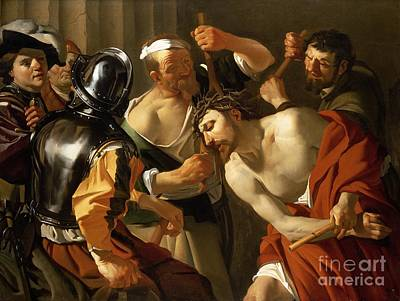 Passions Of Christ Painting - Crowning With Thorns by Dirck van Baburen