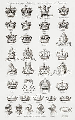 Tiara Drawing - Crowns, Coronets And Helmets by Unknown