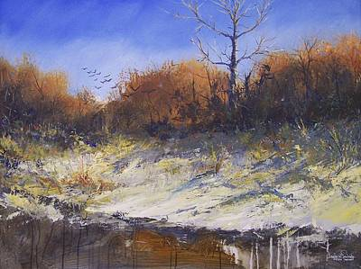 Crows Along The Cottonwood Art Print by Douglas Trowbridge