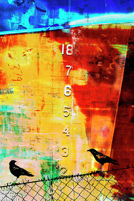 Crows By The Numbers Mixed Media Art Print