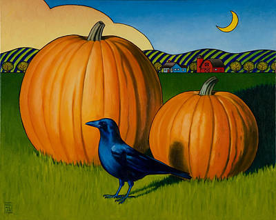 Pumpkins Painting - Crows Harvest by Stacey Neumiller