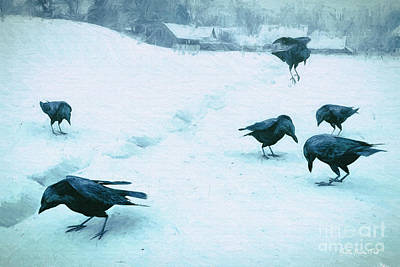 Digital Art - Crows In The Snow by Jutta Maria Pusl
