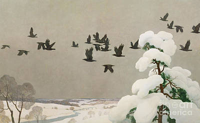 Birds In Snow Wall Art - Painting - Crows In Winter by Newell Convers Wyeth