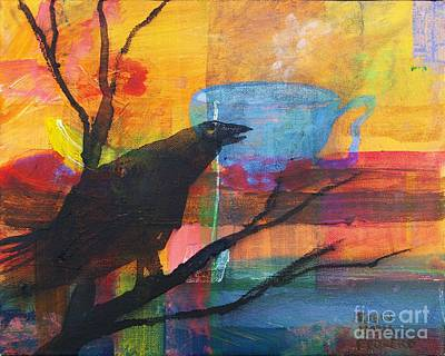 Painting - Crow's Invitation To Tea  by Robin Maria Pedrero