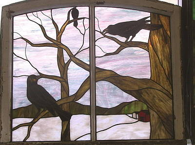 Glass Art - Crows by Jane Croteau