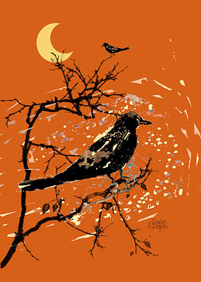 Raven Digital Art - Crows On All Hallows Eve by Arline Wagner