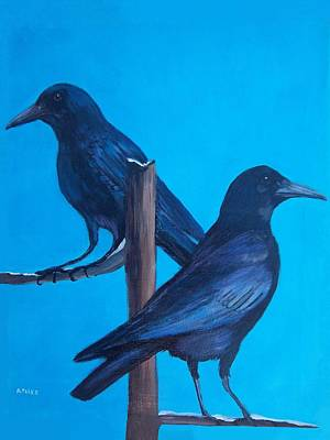 Painting - Crows On Tree Top by Aleta Parks