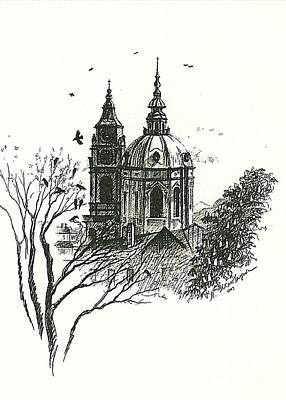 Old Home Place Drawing - Crows Over Prague by Margaryta Yermolayeva