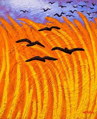 Crows Painting - Crows Over Vincent's Wheat Field Reworked by John  Nolan