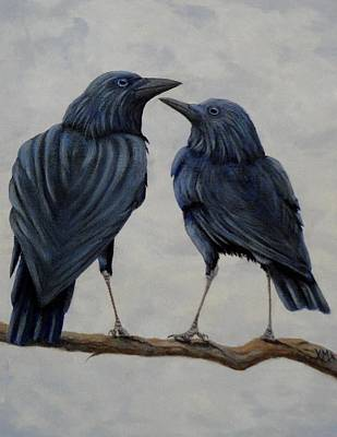 Nature Medicine Painting - Crows by Xochi Hughes Madera