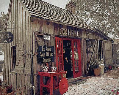 Digital Art - Crucial Coffee Cafe St. Augustine Florida by Rebecca Korpita