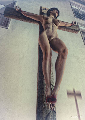 The Wooden Cross Digital Art - Crucified In The Street by Ramon Martinez