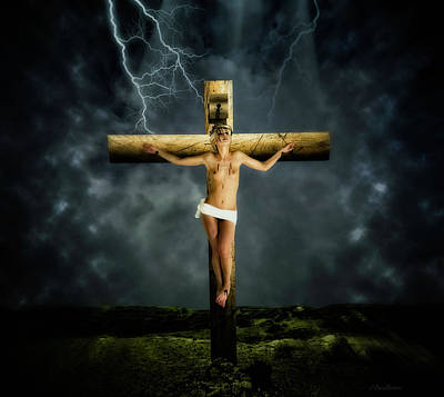 Crucifixion Wall Art - Photograph - Crucifix And Landscape by Ramon Martinez