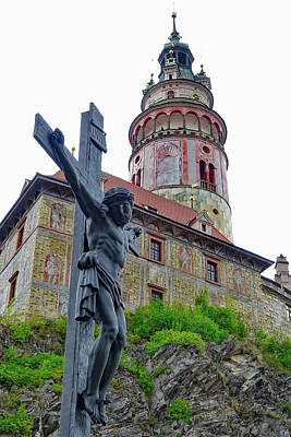 Photograph - Crucifix With Cesky Krumlov Castle In The Background  by Richard Rosenshein