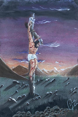 Dave Hancock Pastel - Crucifixion 2 Vertical by Dave Hancock