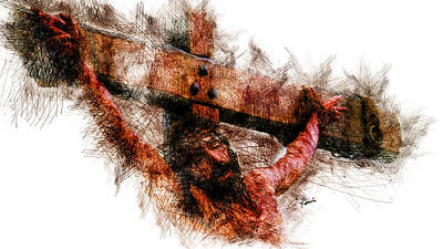 Digital Art - Crucifixion by Charlie Roman