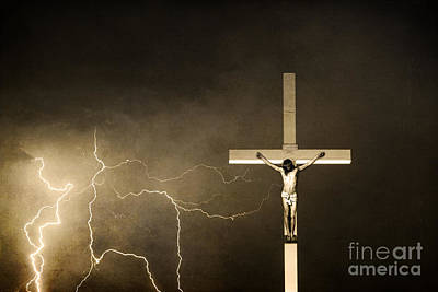 Church Photograph - Crucifixion Of Jesus - Sepia Print by James BO  Insogna
