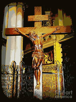 Digital Art - Crufixion In Black And Gold by Ed Weidman